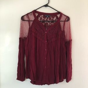 American Eagle Burgundy Top Size S